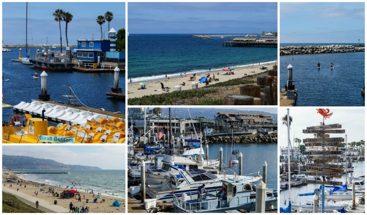 Redondo Beach- beach, oceanfront, boats at the dock, and sign showing how many miles to other cities.
