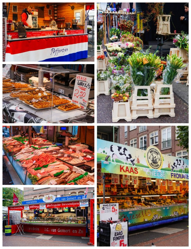 Stalls in Albert Cuyp Markt with fish, waffles, poffertjes, cheese, and flowers.