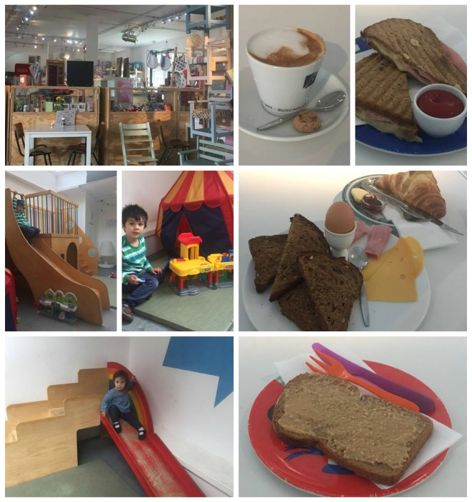 Play area inside Blender cafe in Amsterdam, peanut butter toast, and bread with cheese, ham, and egg.