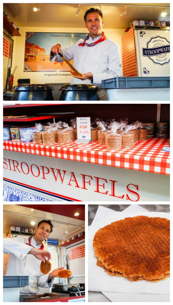 Stroopwafels stall in Albert Cuyp Markt with making of stroopwafels.