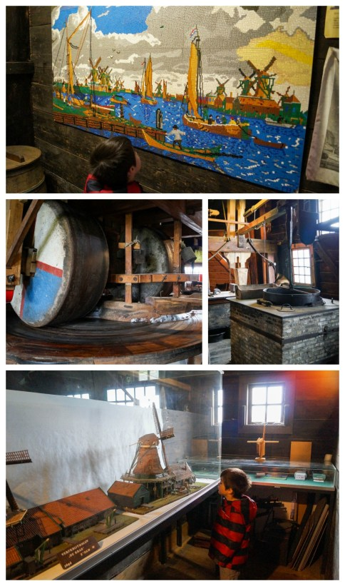 Replicas of windmills, making paint, and painting inside a windmill.