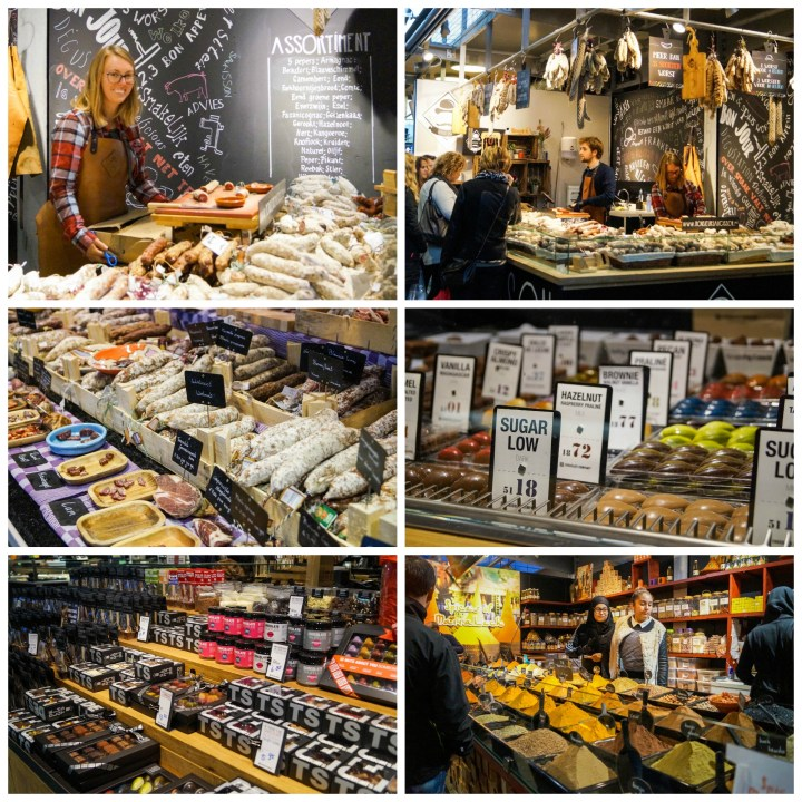 Stalls inside Markthal- spices, chocolates, and cured meats