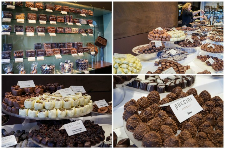 Displays of chocolate at Puccini Bomboni