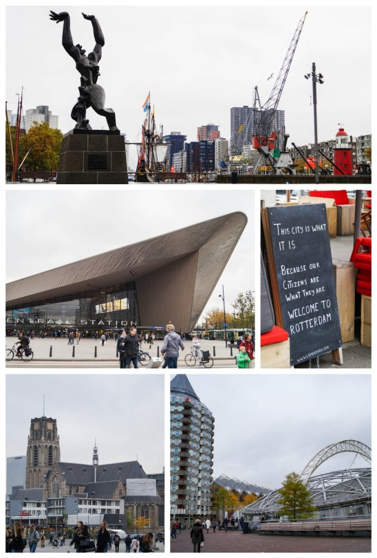 Buildings and sculptures in Rotterdam with a sign stating- This city is what it is, because our citizens are what they are, welcome to Rotterdam