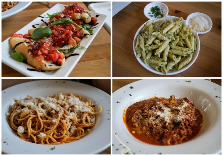 Food at PastaBar Sicily in Markthal- bruschetta, pesto pasta, spaghetti, and lasagna