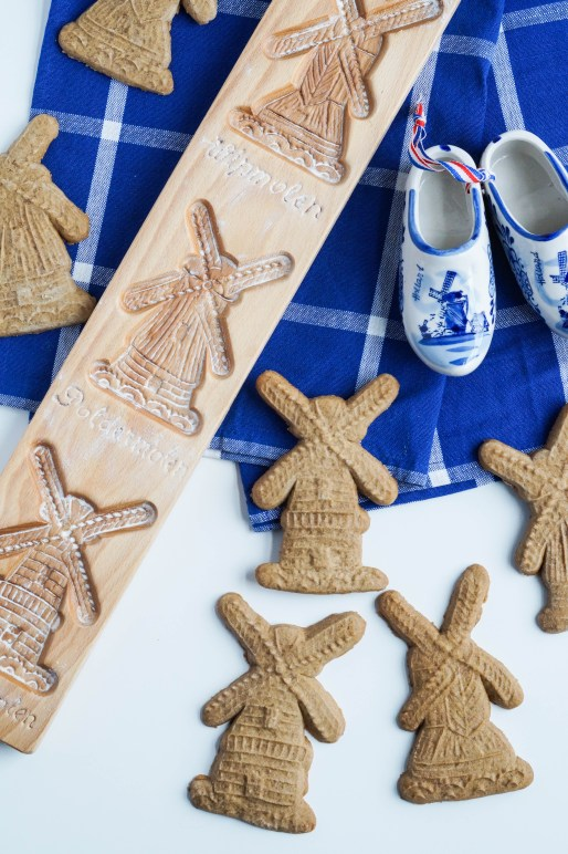 Speculaas (Dutch Spiced Cookies) and molds, ceramic clogs with windmills.