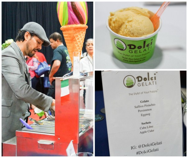 Scooping gelato into a green cup at Dolci Gelati.