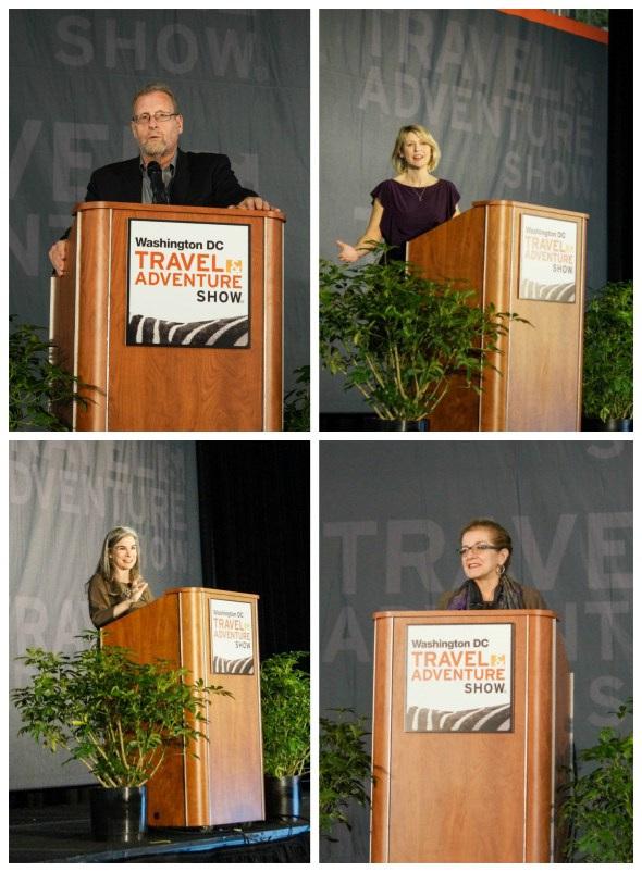 Keynote Speakers at the Travel & Adventure Show- Samantha Brown, Peter Greenberg, Pauline Frommer, and Patricia Schultz.