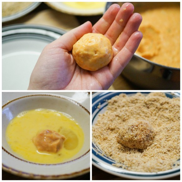 Forming the sweet potato balls, coating in egg, and coating in breadcrumbs.