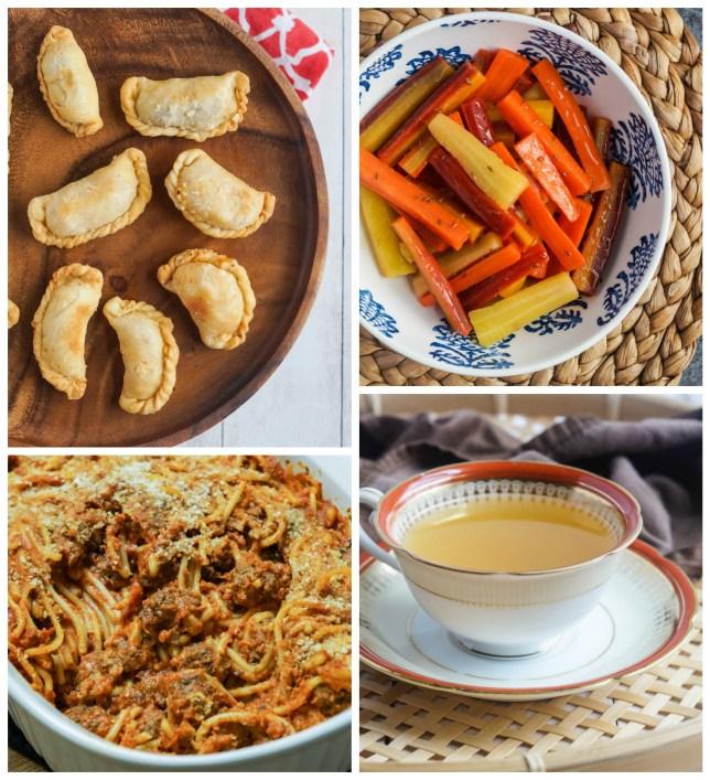 Other dishes from The Aleppo Cookbook- Sambousek (Turnovers), Salatet Jazar (Carrot Salad), Qaleb Ma'karoneh (Pasta Cake with Kebab), and Sharab al-Kammoon (Cumin Tea).