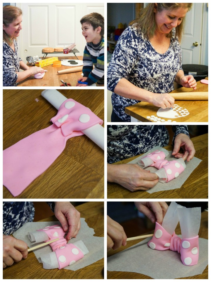 Making the bow and decorations for Minnie Mouse Birthday Cake.