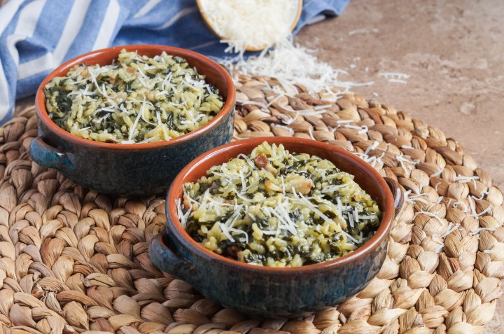 Arroz con Acelgas (Spanish Rice with Swiss Chard) with Parmesan cheese