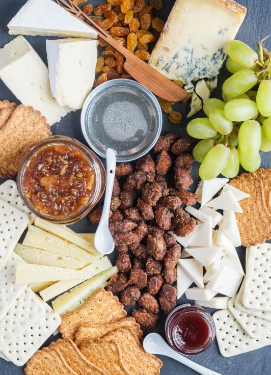 Aerial view of Cheese Board with Champagne and Ginger Chutney.