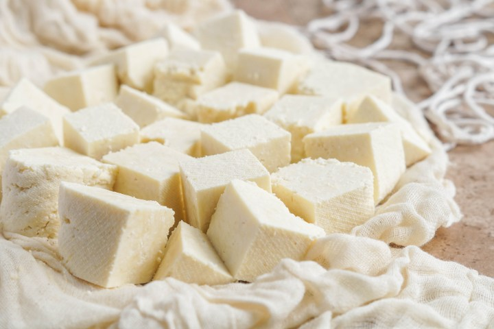 Paneer Cheese cut into cubes and resting on a cheesecloth.