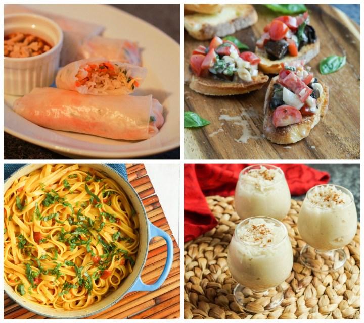 Other dishes from Vegan: The Cookbook- Garden Spring Rolls, Portobello Bruschetta, Fettuccine with Saffron Tomato and Coconut, and Lemon Cinnamon Rice Milk.