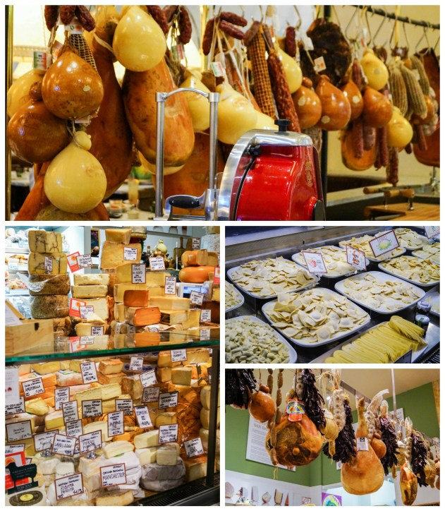 Meat, cheese, and pasta on display at Eataly.
