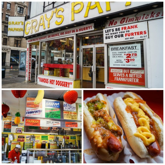 Gray's Papaya building with two hot dogs topped with mustard, ketchup, and relish.