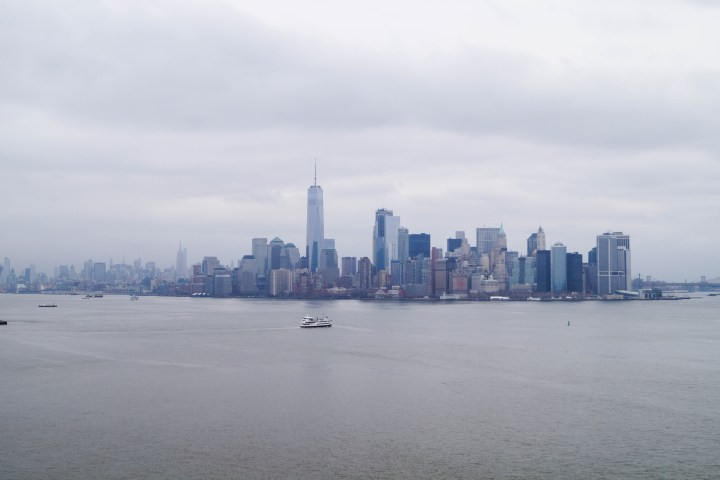View of New York City Skyline from the Statue of Liberty.