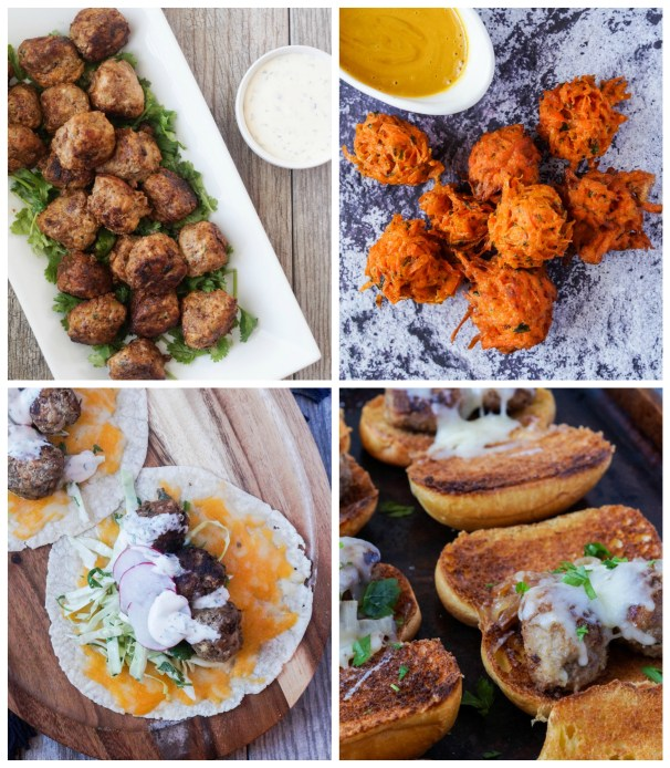 Other dishes from More than Meatballs cookbook: Mexican Albondigas, Carrot Fritters, Meatball Tacos, and A Classic Meatball Sandwich.