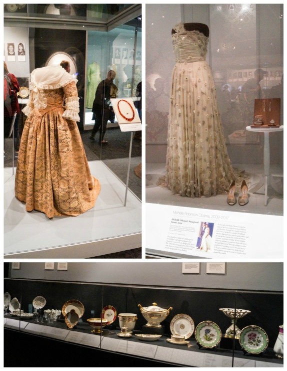 The First Ladies exhibit- gowns from Martha Washington and Michelle Obama, china sets on display.