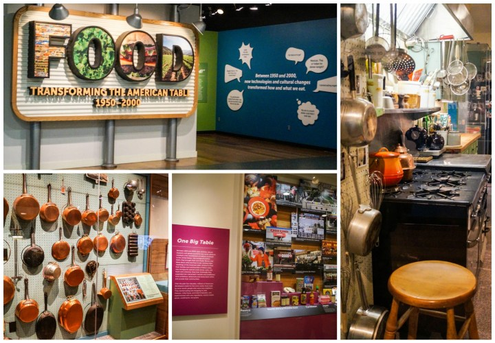Food: Transforming the American Table 1950-2000. Between 1950 and 2000, new technologies and cultural changes transformed how and what we eat. Copper pans lining the wall and replica of a kitchen with pots, stool, and stove.