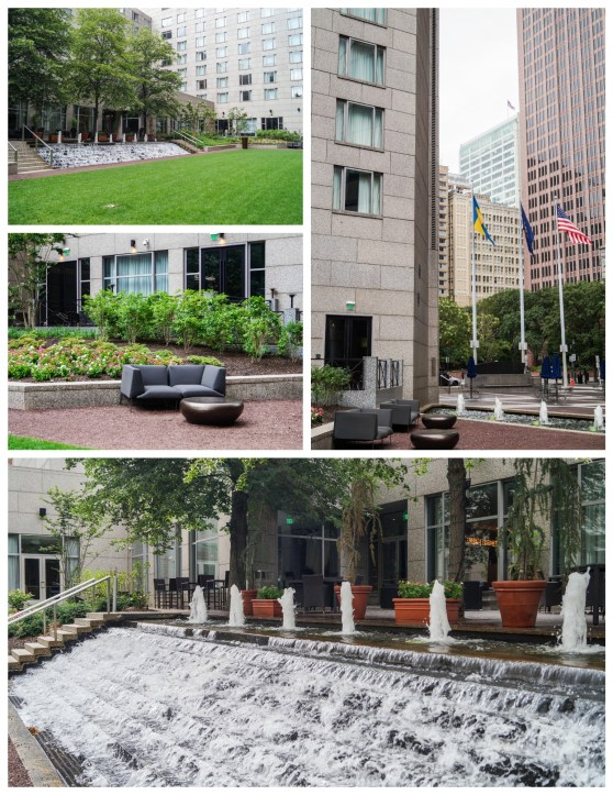Collage of courtyard with cascading fountain at The Logan Hotel.