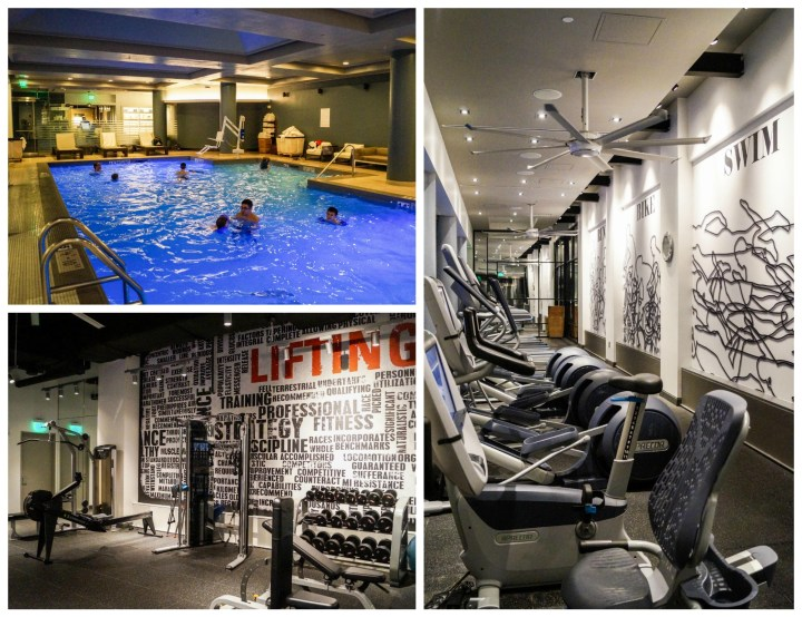 Indoor pool and exercise equipment at The Logan Hotel.