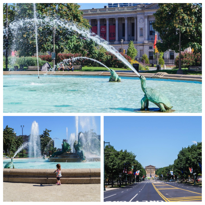 Logan Square- fountain with turtle statue spraying water and view of the art museum.