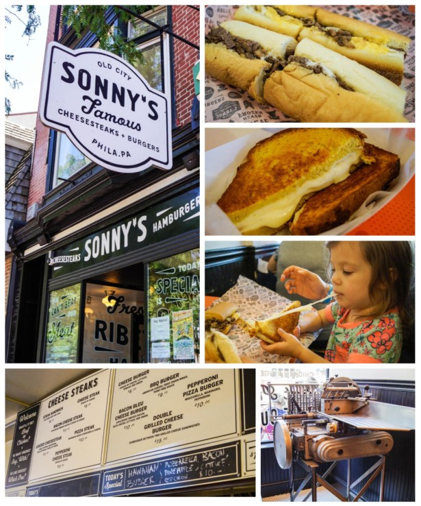 Philly cheesesteak and Grilled cheese from Sonny's Famous Cheesesteaks.