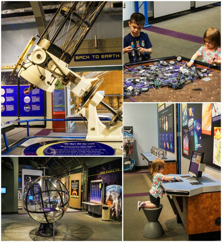 Space Command exhibit at The Franklin Institute with telescope and legos.