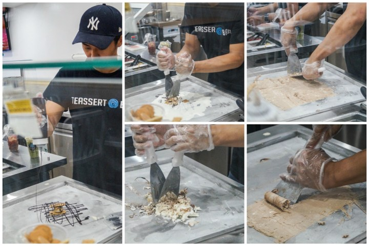 Mixing and rolling ice cream at Teassert Bar.