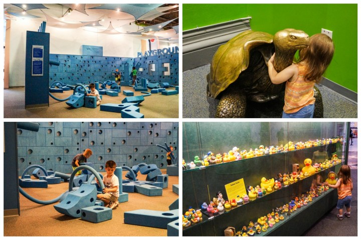 Playing with foam blocks and looking at toys on display at Imagination Playground in the Please Touch Museum.