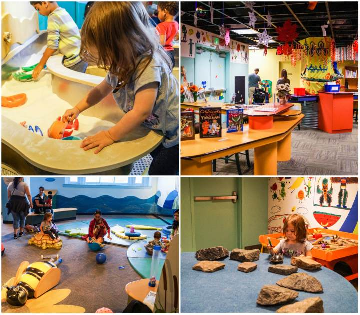 Water station, baby play area, and rock exhibit at Port Discovery.