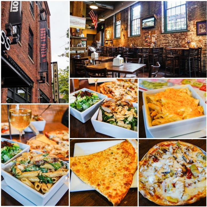 Collage for Bagby Pizza Co- outside building, interior, pasta, salad, and pizza.