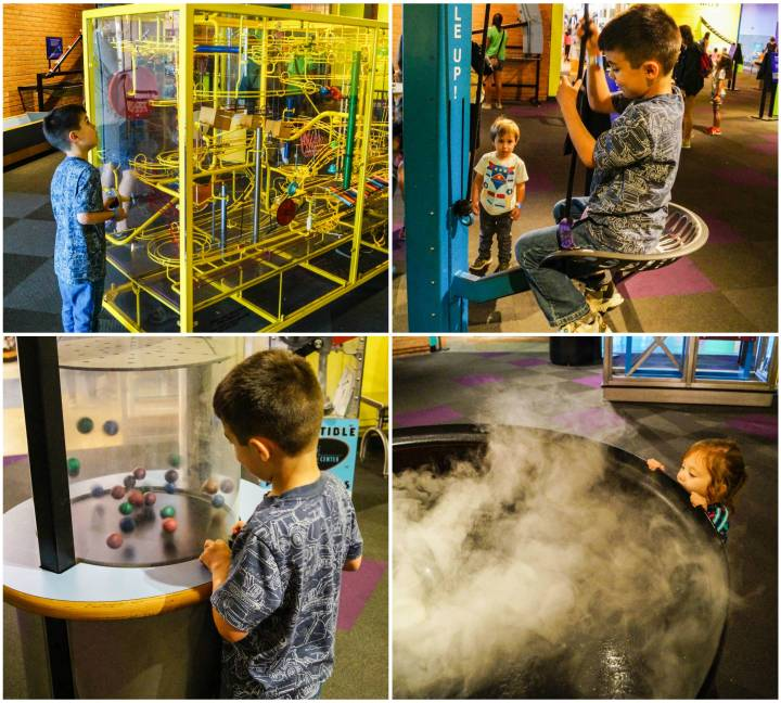 Marble maze and other exhibits in the Newton's Alley section of the Maryland Science Center.