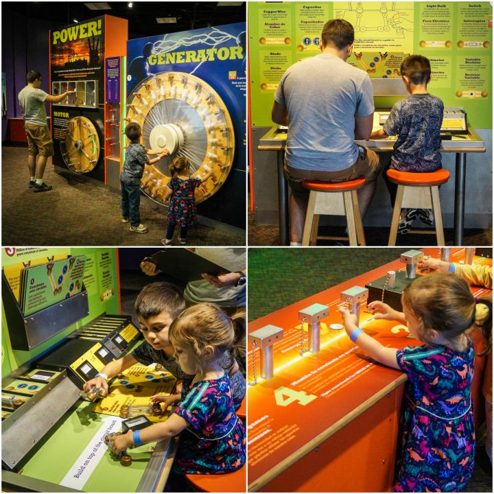 Power Up exhibit with hands on machines and buttons at the Maryland Science Center.