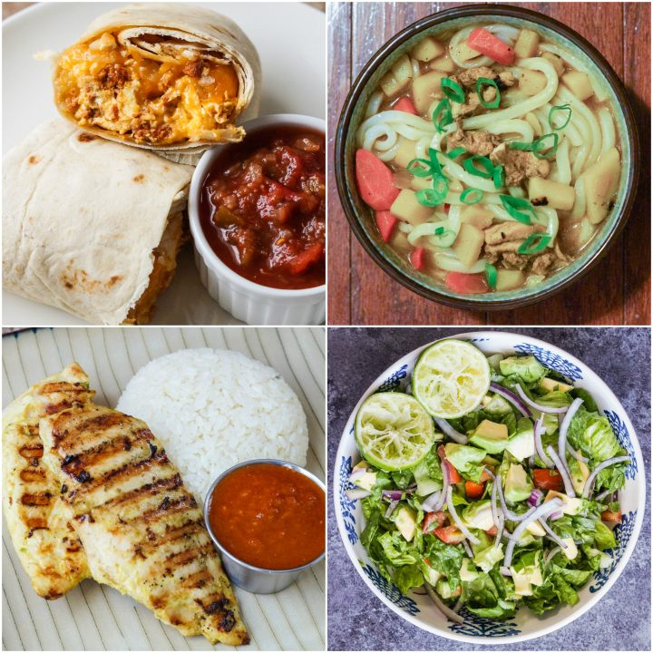 Other dishes from The Grand Central Market Cookbook- Breakfast Burrito with Eggs & Chorizo, Curry Udon, Thai BBQ Chicken, and Ensalada Mixta (Chopped Salad).