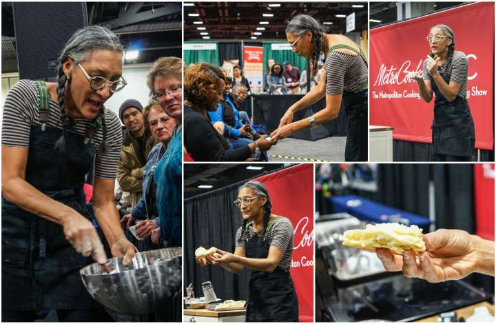Carla Hall making biscuits at MetroCooking DC.