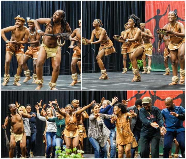 Rhythms of Kalahari dancing on the stage