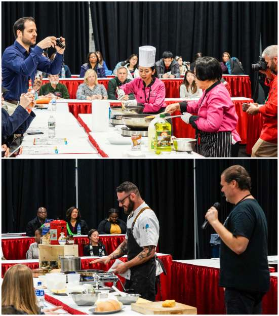 Cooking demonstration at the Travel & Adventure Show with people sitting at red and white tables.