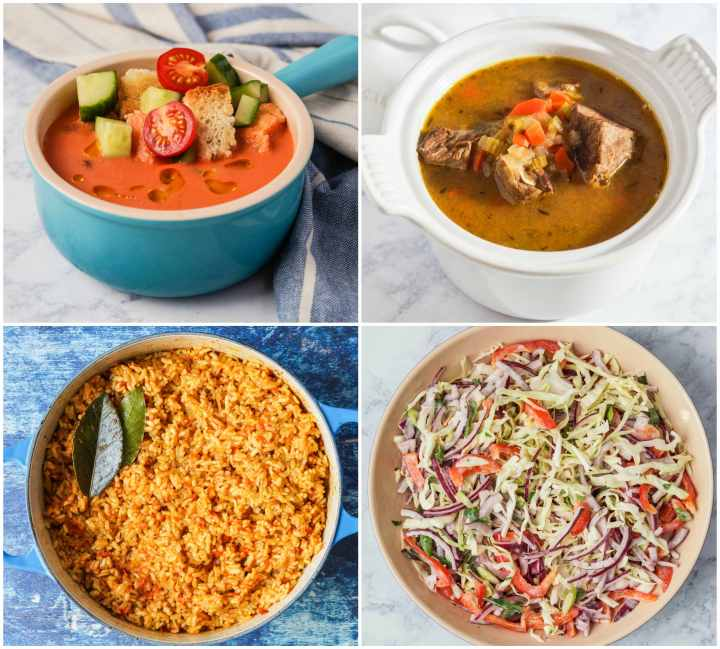 Other dishes from The Immigrant Cookbook- Tichi's Gazpacho, Irish Beef Stew, Jollof Rice, and Island Slaw.