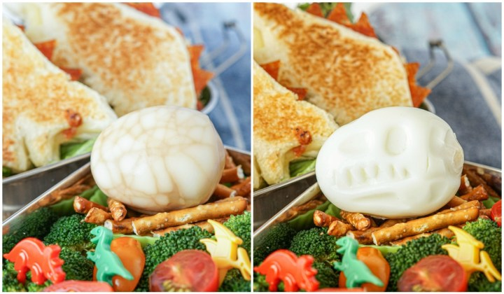 Two styles of eggs for the Dinosaur Bento- soy sauce egg with a brown cracked appearance and another egg shaped like a Tyrannosaurus Rex skull.