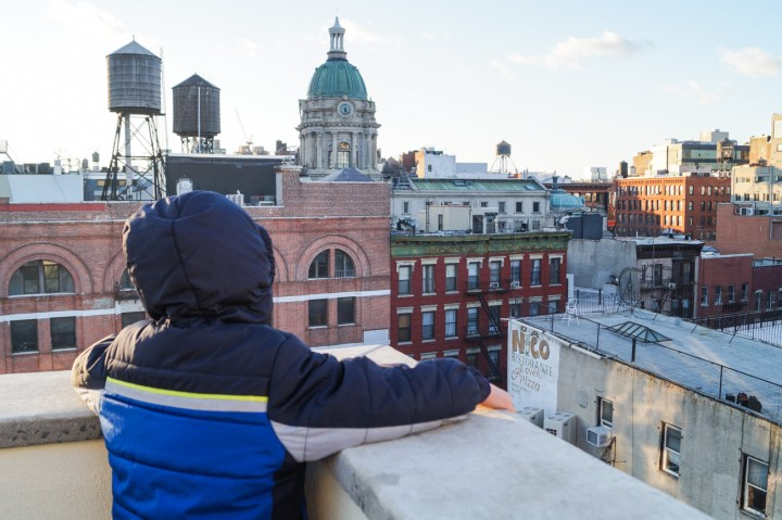 Looking at Chinatown in NYC from rooftop.