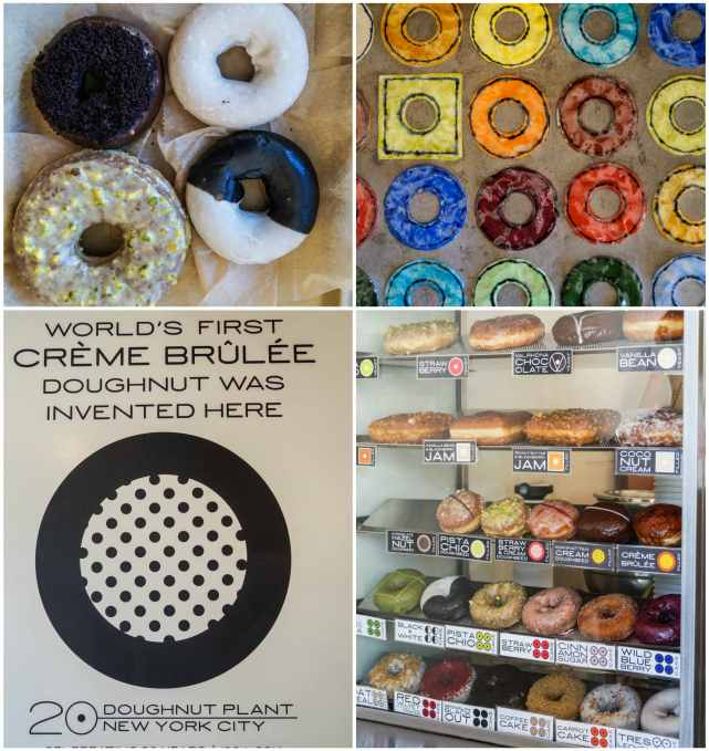"""Doughnuts on display at Doughnut Plant with sign stating """"World's First Creme Brulee Doughnut was invented here."""""""