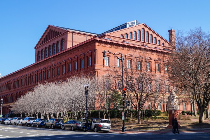 Exterior of National Building Museum- large brick building.