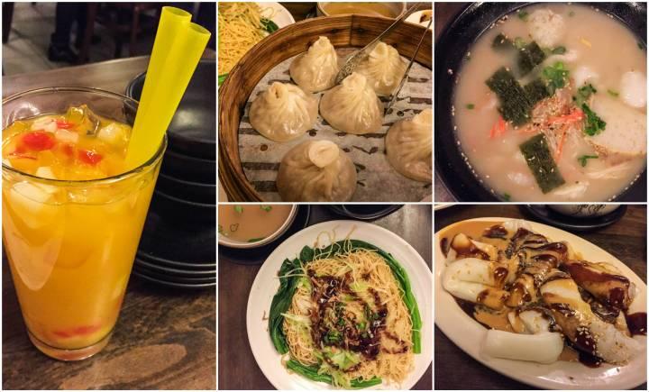 Dumplings, drinks, soup, and noodles at Noodle Village.