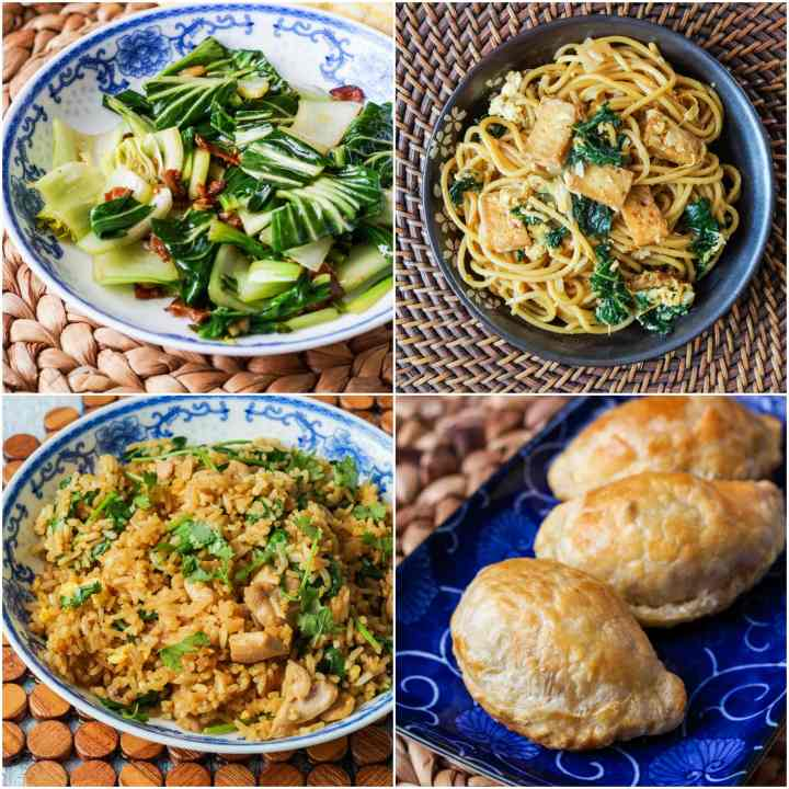 Other dishes from The Malaysian Kitchen: Stir-fired Bok Choy with Bacon and Garlic, Malaysian Wok-Fried Spaghetti with Kale and Sambal, Village Fried Rice with Chicken and Spinach, and Chicken and Sweet Potato Curry Puffs.