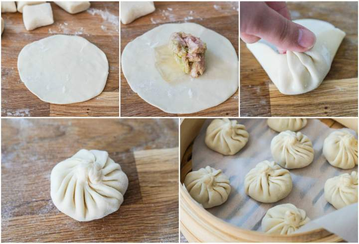 Forming the Xiao Long Bao (Chinese Soup Dumplings)- folding the wrapper over the filling and arranging in steamer basket.