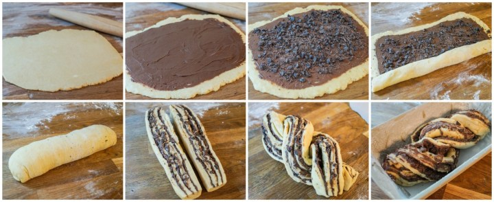 Forming the Chocolate Babka- rolling out the dough, covering in chocolate and chocolate chips, rolling up, and braiding.