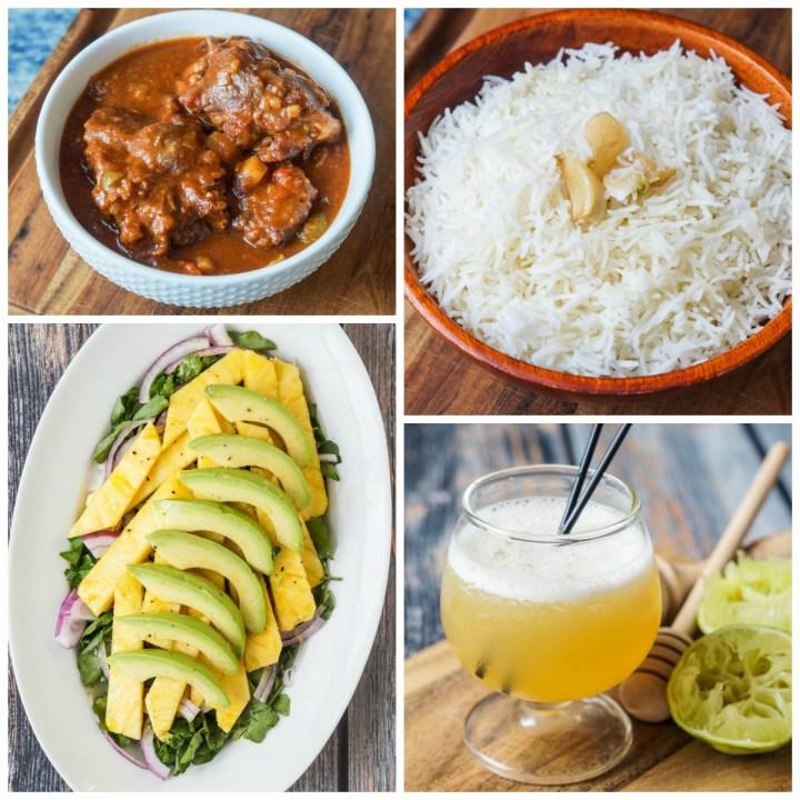 Other dishes from Comida Cubana: Rabo Encendido (Stewed Oxtail), Arroz Blanco de Nitza Villapol, Ensalada de Piña y Aguacate (Pineapple and Avocado Salad), and Canchánchara (Honey Rum Cocktail).